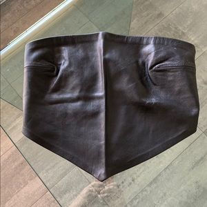 BCBG MAX AZRIA Bustier Leather Scarf Top Large